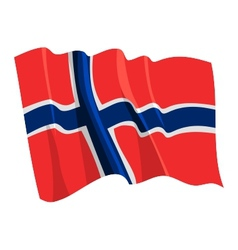 political waving flag of norway vector image