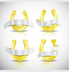 realistic gold horseshoe icon set vector image vector image