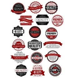Red and black quality guarantee labels and banners vector image vector image