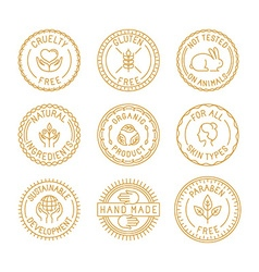 Set of badges and labels for natural and organic vector