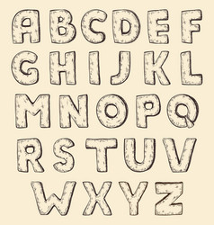 sketch alphabet vintage engraving style vector image