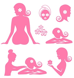Spa woman set vector