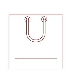 square shopping bag icon with handle in dark red vector image vector image