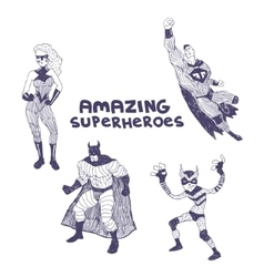 Superheros drawings set vector image