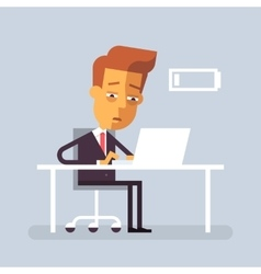 Tired businessman is sitting at the desk vector