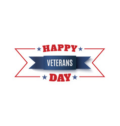 Veterans day background blue ribbon isolated on vector