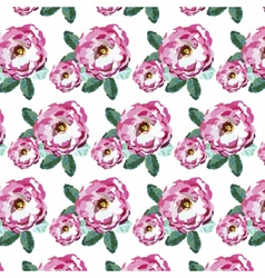 Watercolor pink roses pattern vector