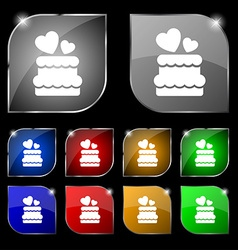 Wedding cake icon sign set of ten colorful buttons vector