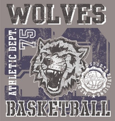 Wolves basketball team vector
