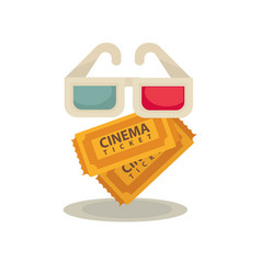 3d movie glasses and two brown tickets isolated on vector