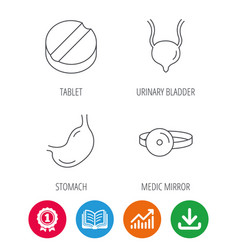 medical mirror tablet and stomach organ icons vector image