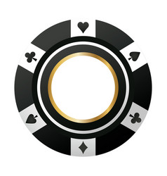Poker chip casino game black icon vector