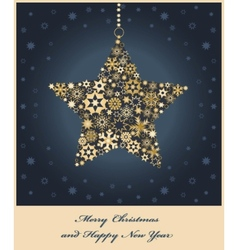 Star from golden snowflakes vector