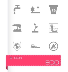 Black eco icons set vector