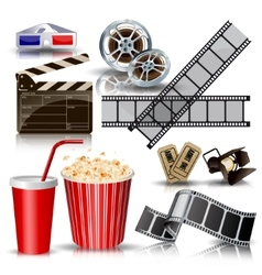 Set of objects for cinematography clapperfilm vector
