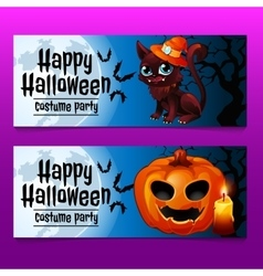 Two horizontal fun cards with cat and pumpkin vector