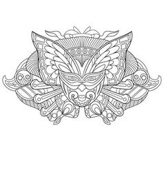 Zentangle stylized cartoon carnaval mask vector image