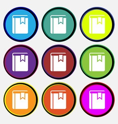 Book bookmark icon sign nine multi colored round vector