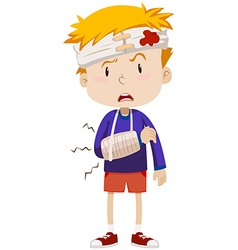 Boy having head and arm injury vector image