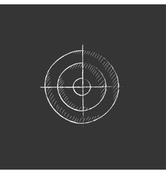 Shooting target drawn in chalk icon vector