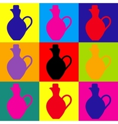 Amphora sign pop-art style icons set vector
