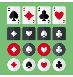 Four aces playing cards and suits flat icons vector