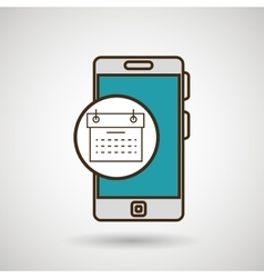 Smartphone blue and calendar isolated icon design vector