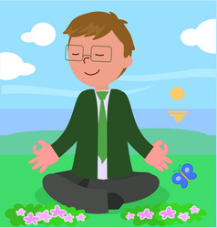 business man in meditation pose vector image