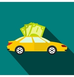 Car and banknotes icon flat style vector