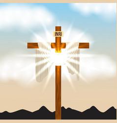 Cross inri and bright light sky radiant vector