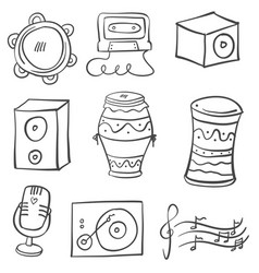 Doodle music tool various collection vector