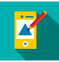Drawing in mobile app icon flat style vector image vector image