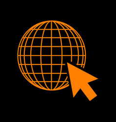 earth globe with cursor orange icon on black vector image vector image