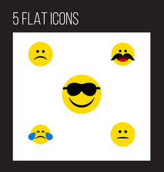 Flat icon face set of sad cold sweat happy and vector