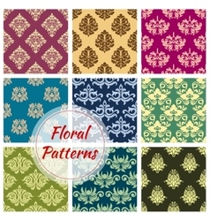 Floral damask ornament seamless patterns vector