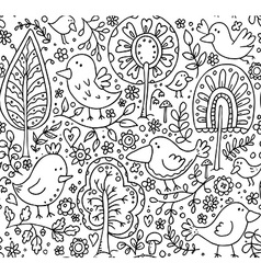 floral seamless pattern with trees and birds vector image