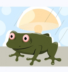 frog under mushroom in rain vector image