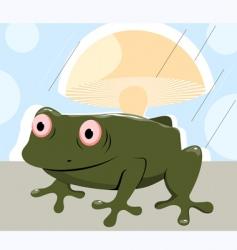 frog under mushroom in rain vector image vector image