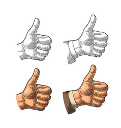 Hand showing symbol like making thumb up gesture vector