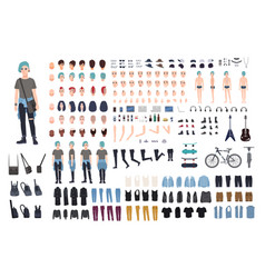Informal teenager character constructor punk vector