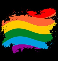 LGBT flag grunge style Brush strokes and ink vector image