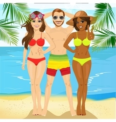 Macho man standing with two attractive women vector