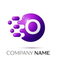 O letter splash logo purple dots circle bubble vector