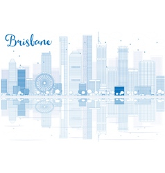 Outline brisbane skyline with blue buildings vector