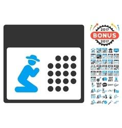 Pray calendar icon with 2017 year bonus pictograms vector