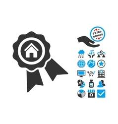 Realty award flat icon with bonus vector