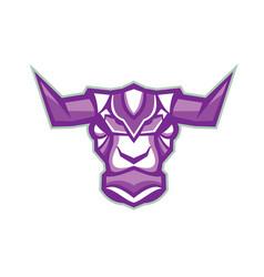 Robot yak bull head front vector