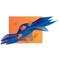 Six small orange fishes vector image