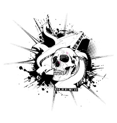 Skull with grunge and 3d arrows vector