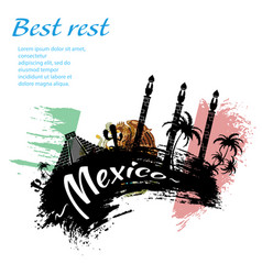 Travel mexico grunge style vector